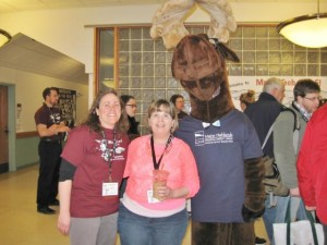 participants posing with Monty Moose at Moose Tech Event