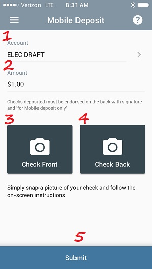mobile deposit page on mobile banking