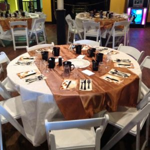 decorated table setting at event