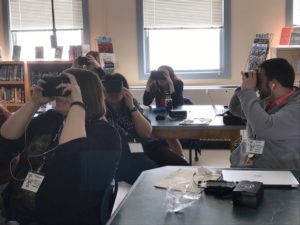 teachers using virtual reality goggles at MooseTech