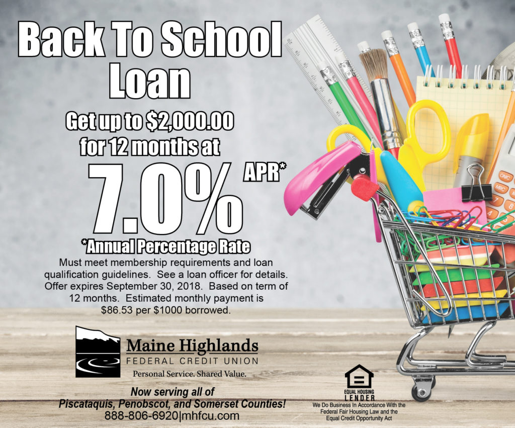 Back To School Loan ad with small shopping cart filled with school supplies